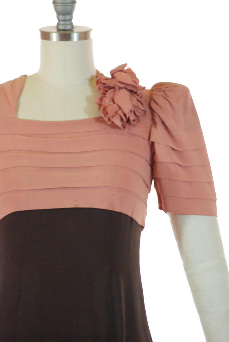 Layaway Deposit for Fantastic Rare Late 1930s Colorblock Juniors Dress in Rose Pink and Chocolate Brown