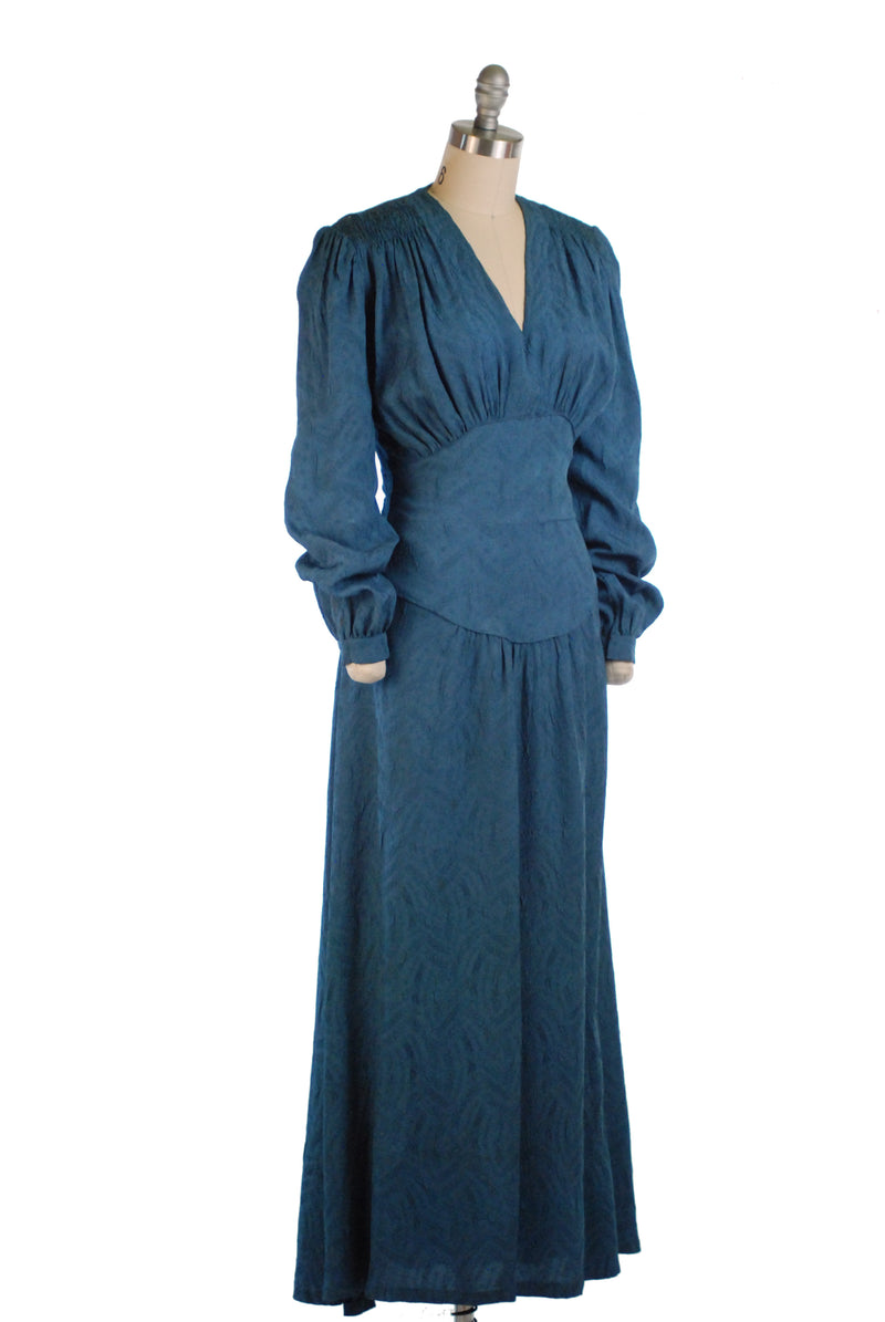 Elegant Late 1930s Evening Gown in Cornflower Blue with Full Sleeves