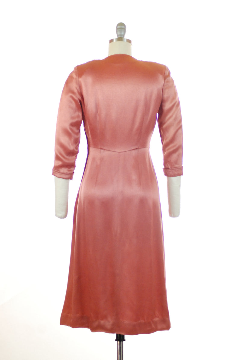 Lustrous 1940s Rose Pink Satin Cocktail Dress XS