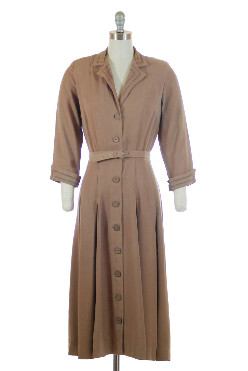 Smart Post War 1940s L'Aiglon Day Dress with Square Buttons Fagotting Accents