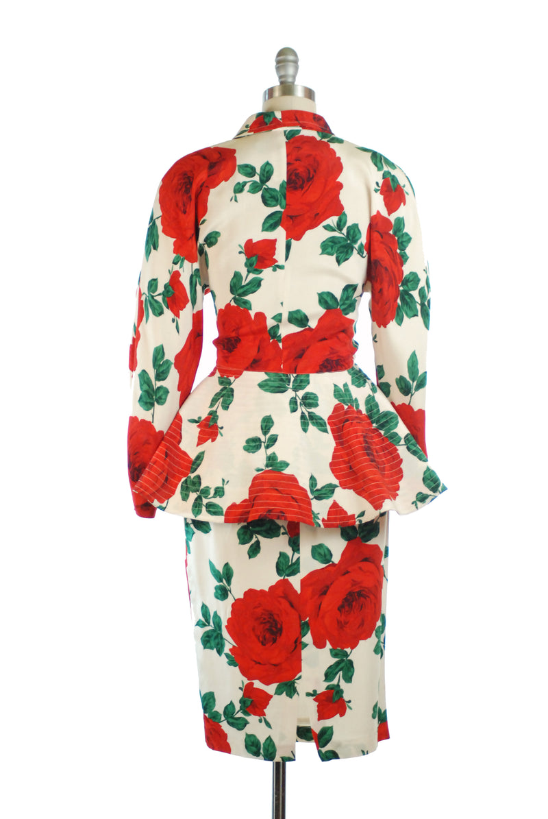 Exceptional 1980s Italian Made Silk Suit with with Graphic Rose Motif, Offering Dramatic New Look Influences by Bencivenga