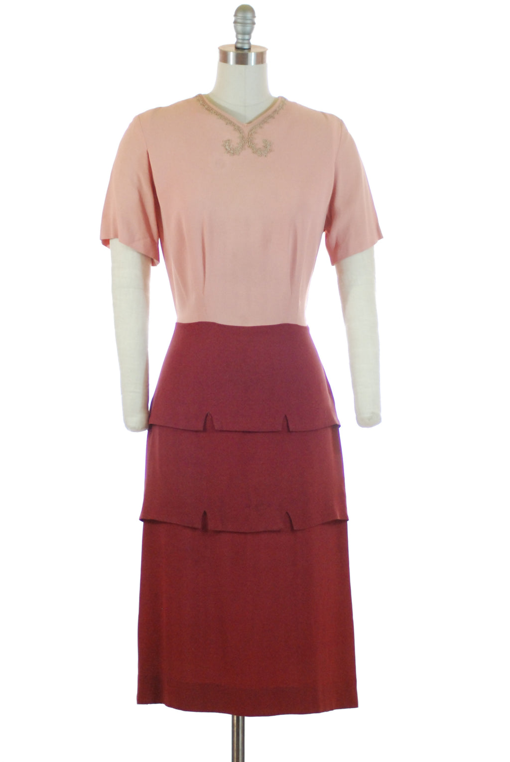 Fantastic 1940s Colorblock Dress Set with Soutache Accents and Cropped Jacket