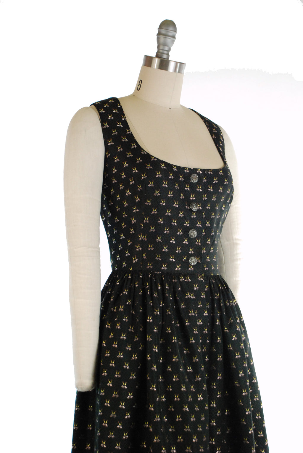 Gorgeous 1960s Dramatic Black Brocade Dirndl with Pink and Yellow Floral Motif by Lanz Salzburg
