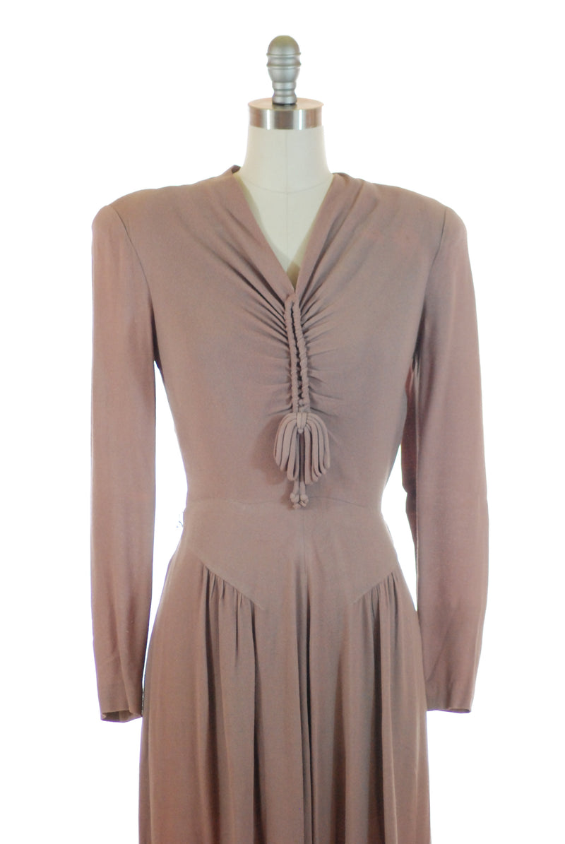 Gorgeous 1940s Woven Day Dress in Subtle London Fog Purple
