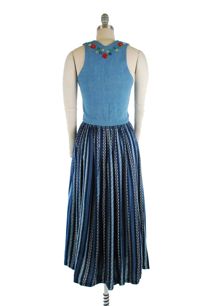 Charming 1960s Original Lanz Dirndle with Embroidered Linen Bodice and Striped Skirt
