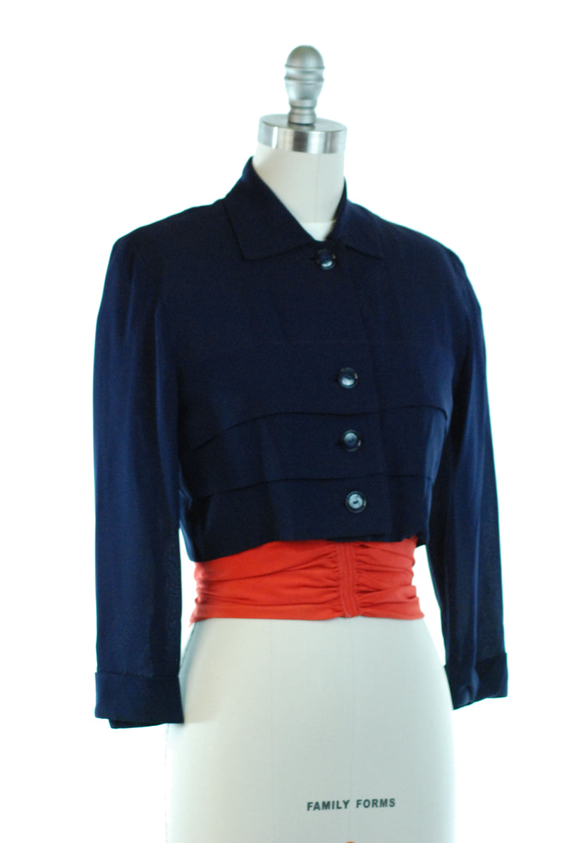 Smart 1940s Post War Three Piece Set of Top, Jacket and Cummerbund
