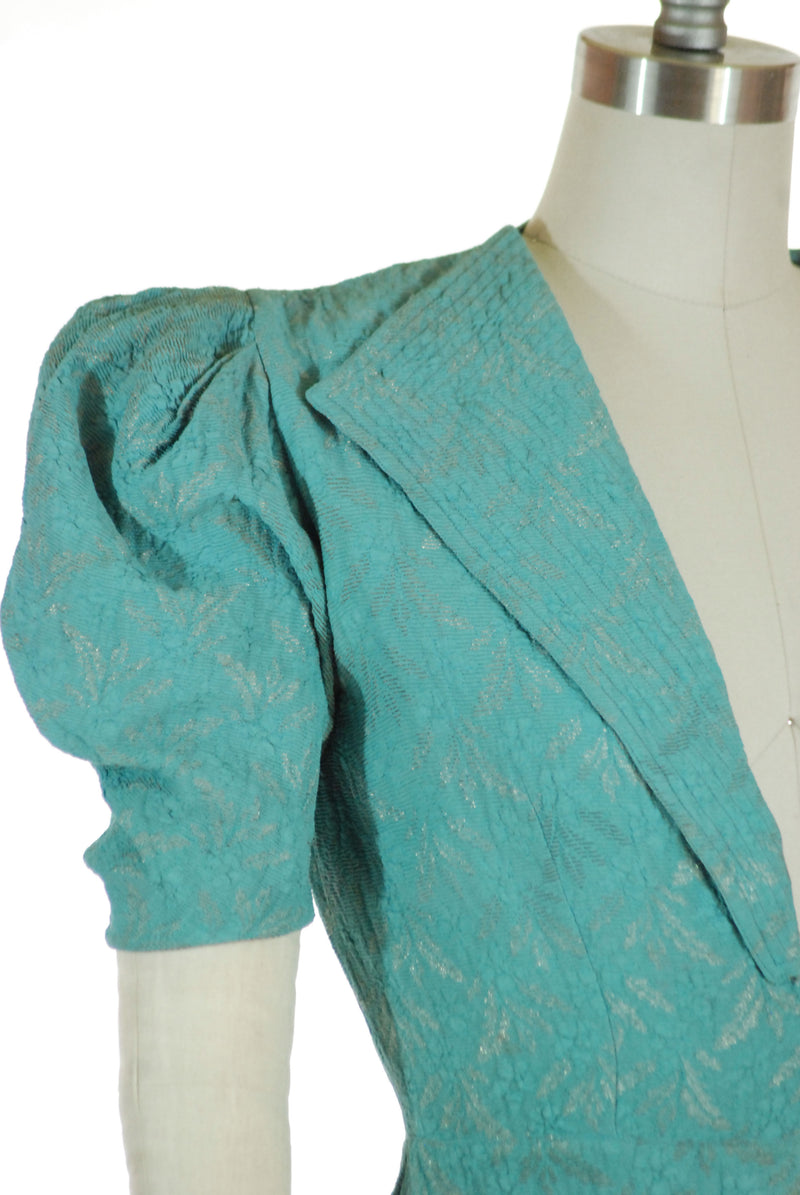 Gorgeous Late 1930s Tailored Puff Sleeve Jacket in Turquoise with Metallic Gold Brocade