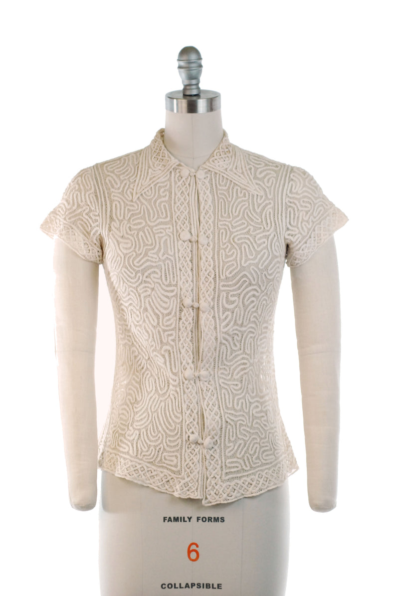 Gorgeous 1930s Ivory Silk Blouse of Fine Tape Lace and Fagoting