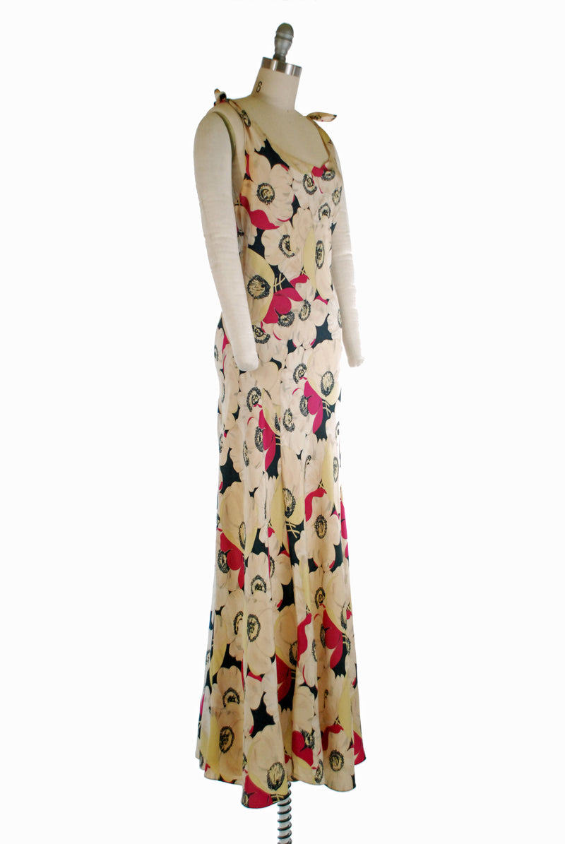 Bold 1930s Bias Cut Evening Gown in Glorious Macro Floral with Fuchsia, Black and Celadon