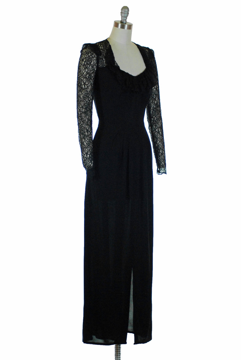 Deadly 1940s Femme Fatala with Sheer Lace and Deep Décolletage