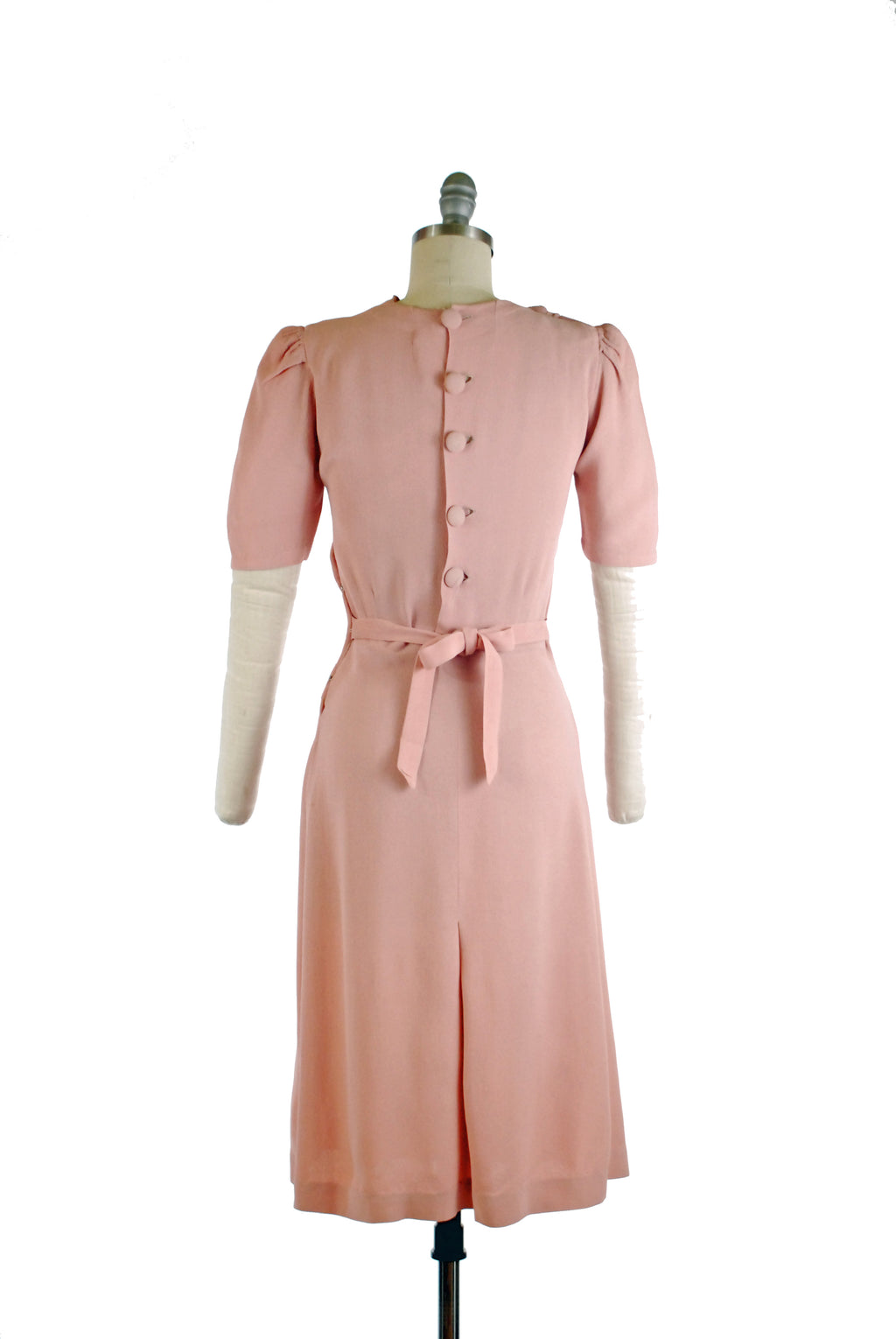 Ideal Late 1930s Pink Puffed Sleeve Day Dress with Surplice Bodice and Perfect Skirt XS