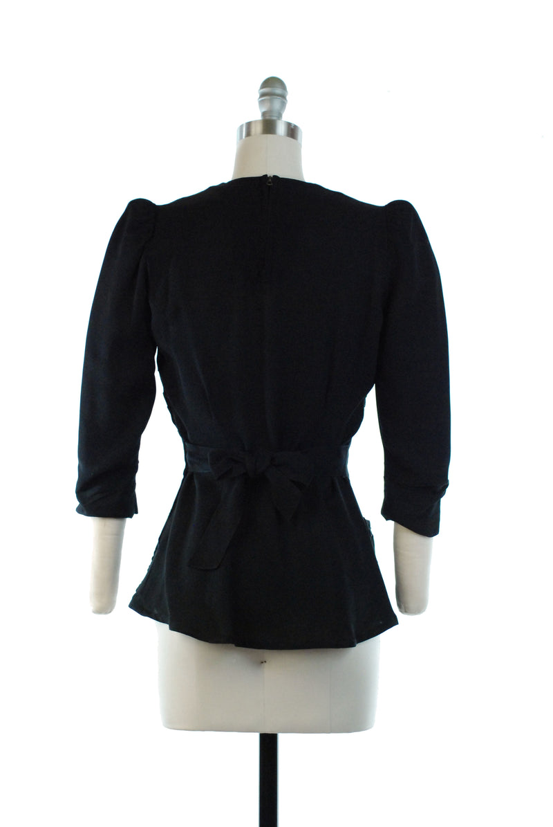 Black 1930s New York Creation Label Rayon Blouse with Soutache, As is