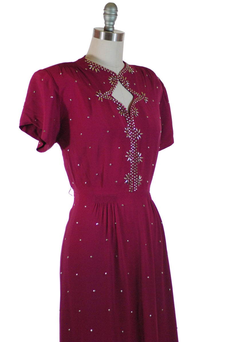 Exceptional 1940s Heavily Studded Fuchsia Rayon Cocktail Dress with Keyhole Neckline