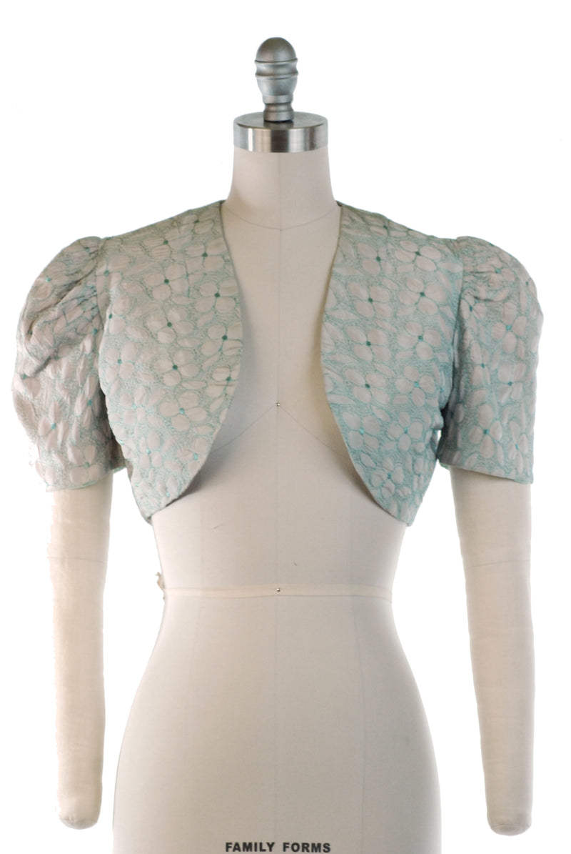Cute 1930s Bolero in Pale Pink Green with Floral Embroidery