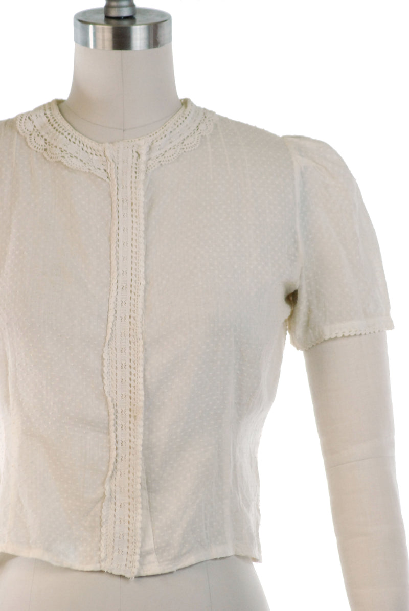 Cute 1930s Ivory Cotton Blouse with Swiss Dots