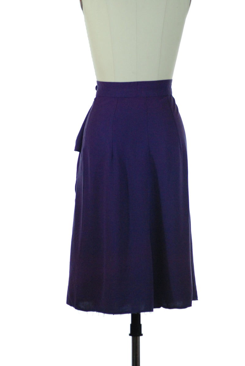 Gorgeous 1940s True Purple Wrap Skirt with Draped Side