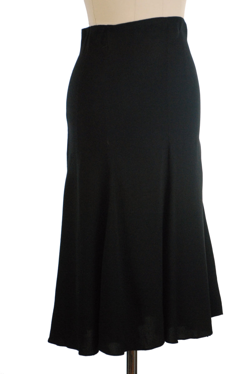 Sleek 1930s Homemade Skirt of Black Silk Crepe de Chine