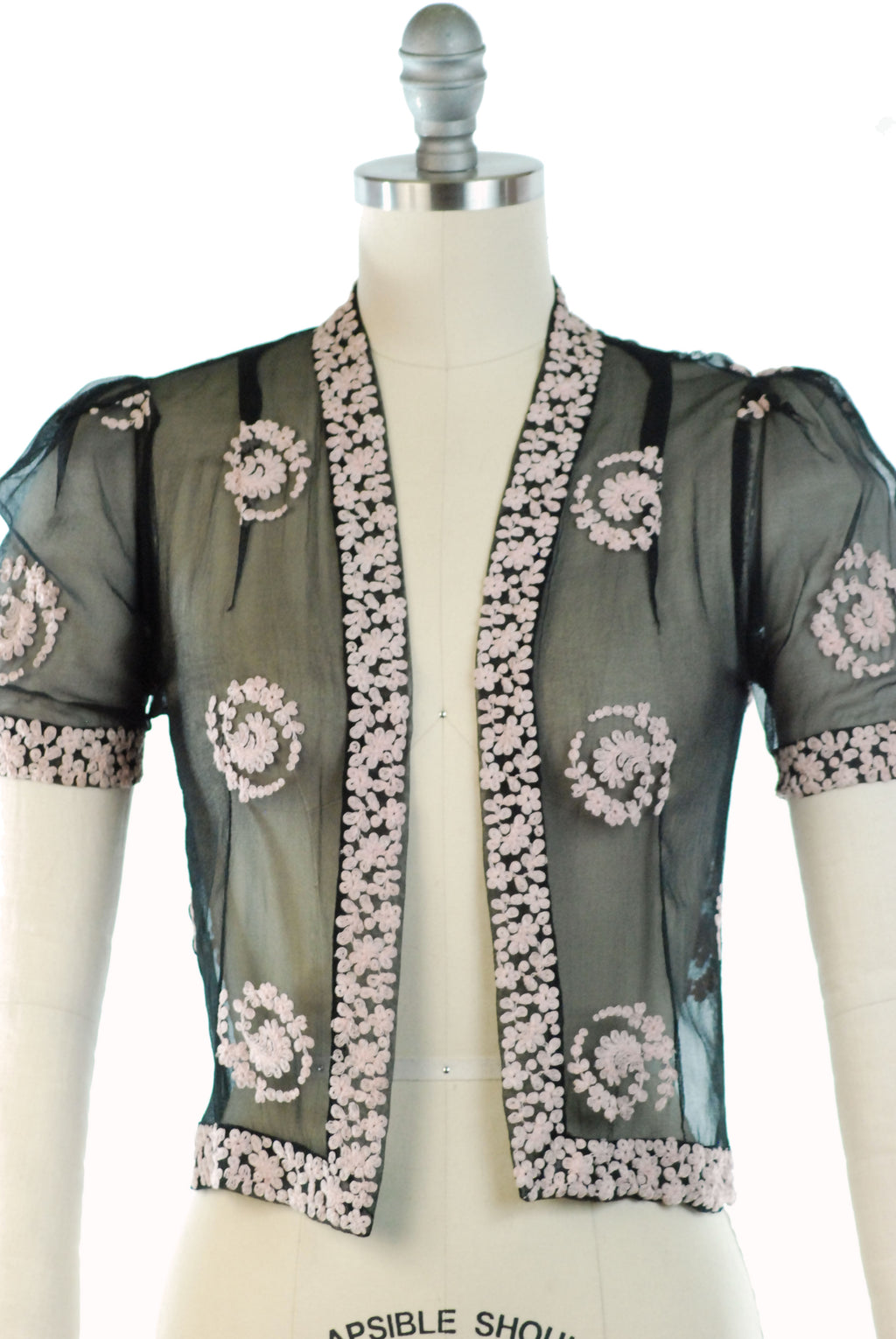 Gorgeous 1930s Bolero Blouse in Sheer Black Chiffon with Pink Tambour Lace