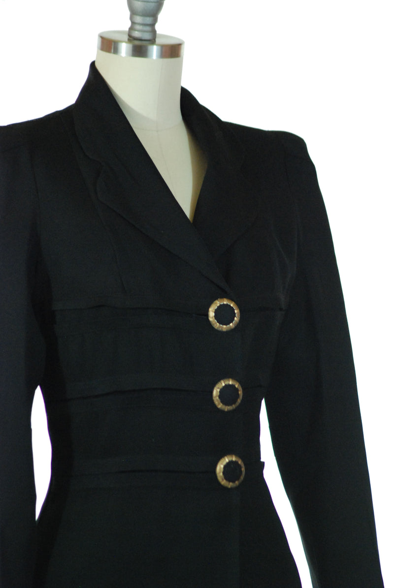 Sophisticated 1940s Tailored Jacket with Huge Black and Gold Buttons