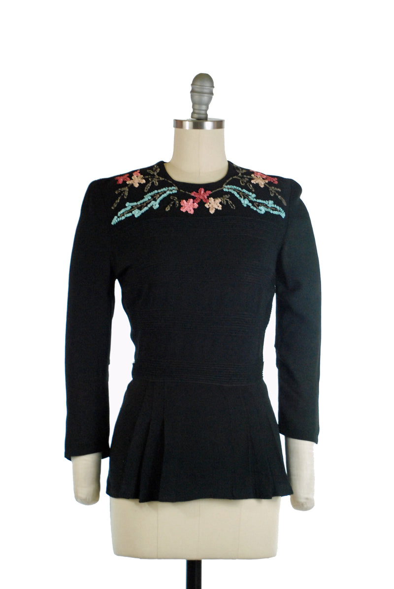 Beautiful 1940s Sequined Peplum Blouse of Black Rayon Crepe with Floral Sequins and Belt