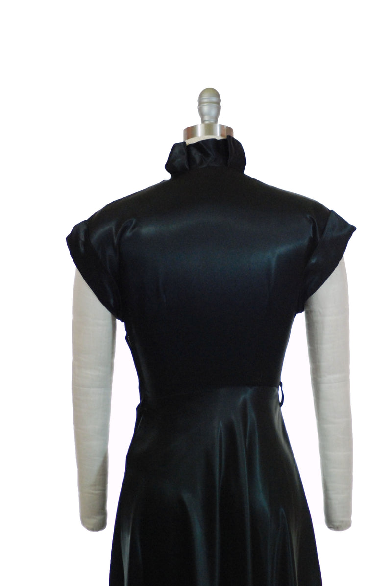 Glossy Postwar 1940s Black Satin Shirtwaist Dress XS