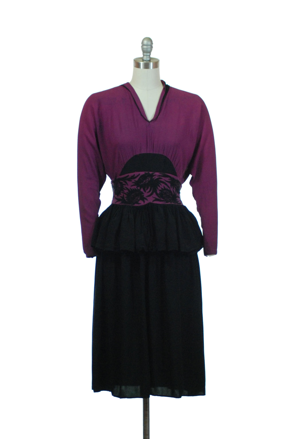 Bold 1940s Colorblock Dress with Applique Made of Two 1930s Crepe Dresses