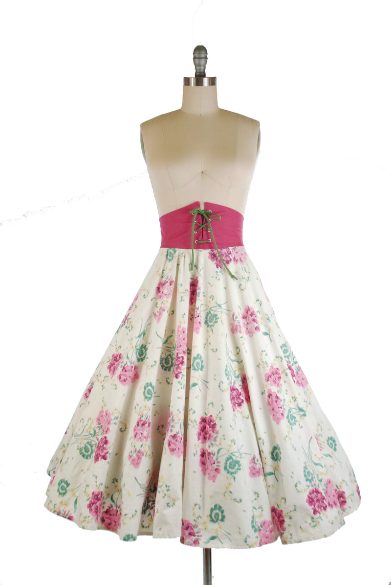 RARE Late 1940s Full Skirt with Peaked Corset Waist and Floral Print