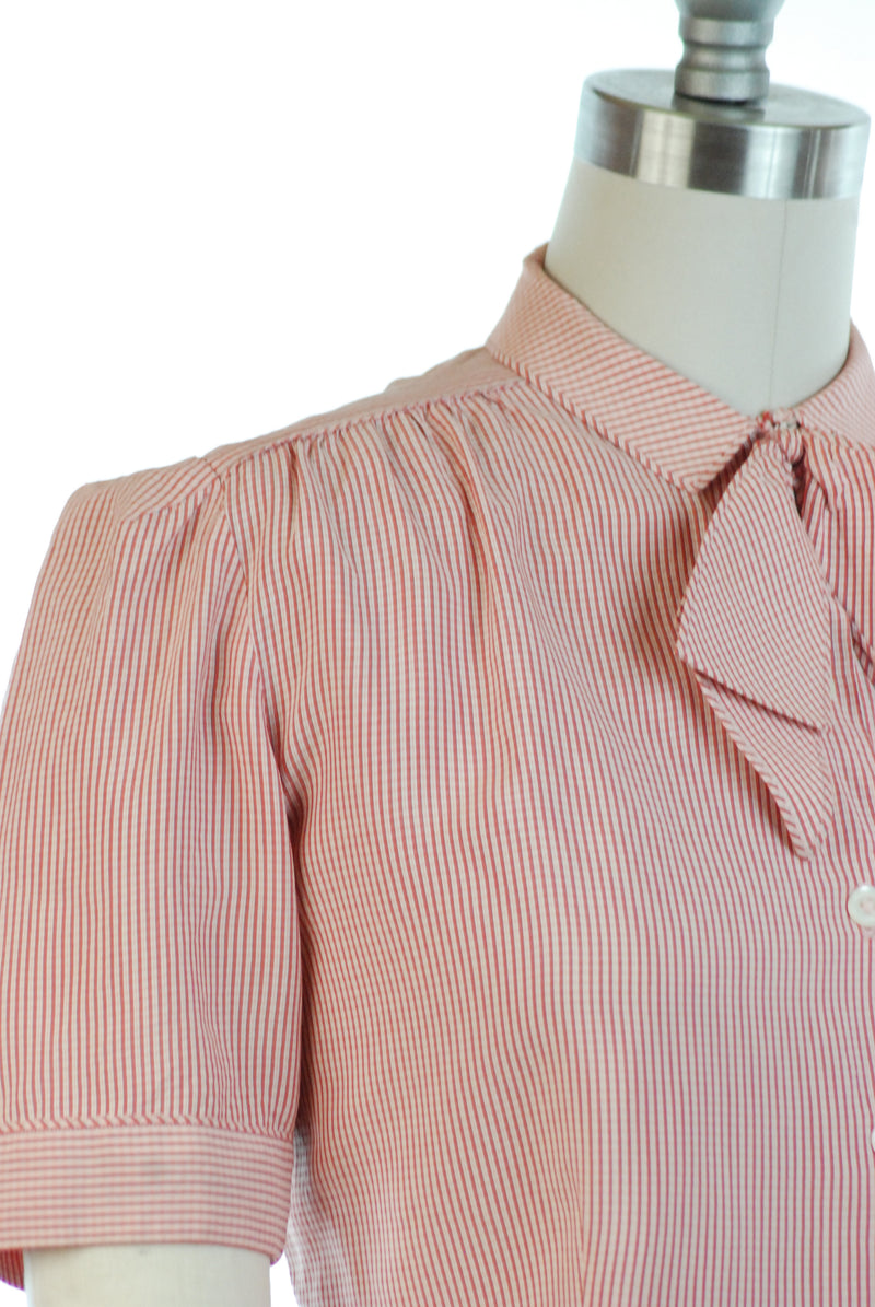 Smart 1940s Blouse in Fine Pink and Red Check with Self-Fabric Bowtie