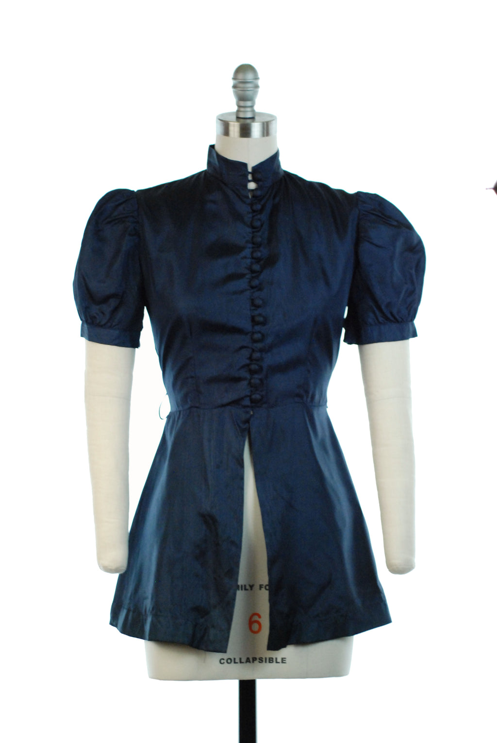 Fab 1930s Navy Blue Puffed Sleeve Peplum Top with Covered Buttons