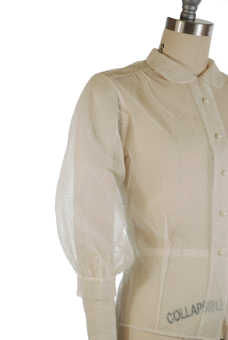 Ultra Sheer 1950s Mesh Blouse with Flocked Swiss Dots and Puffed Sleeves