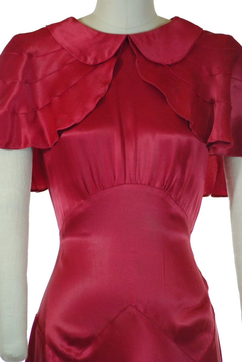 Glamorously Glossy Fuchsia Bias Cut Silk Satin 30s Gown with Attached Capelet