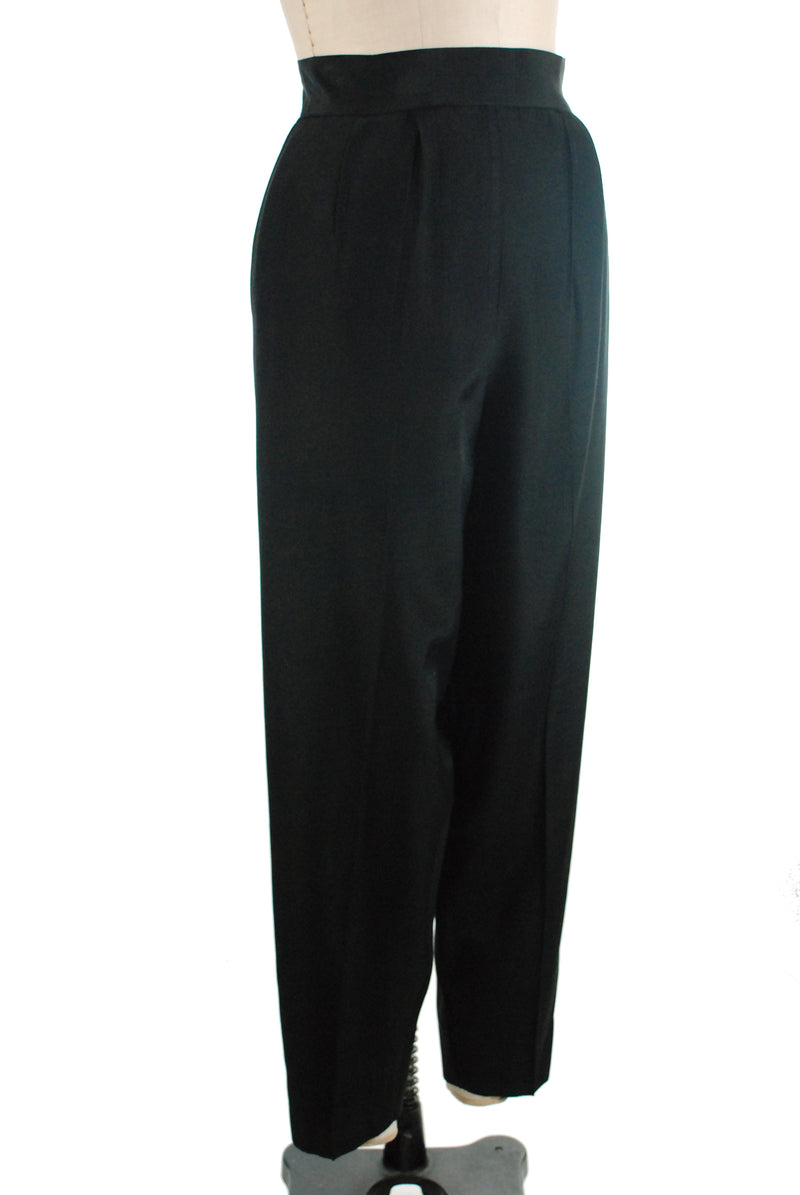 Killer Late 1940s High Waist Black Faille Trousers with Pegged Fit