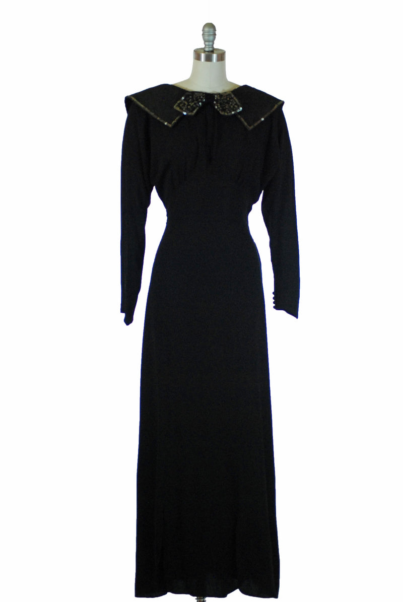 Wicked 1930s NRA Label Evening Gown Dolman Sleeves and Huge Collar
