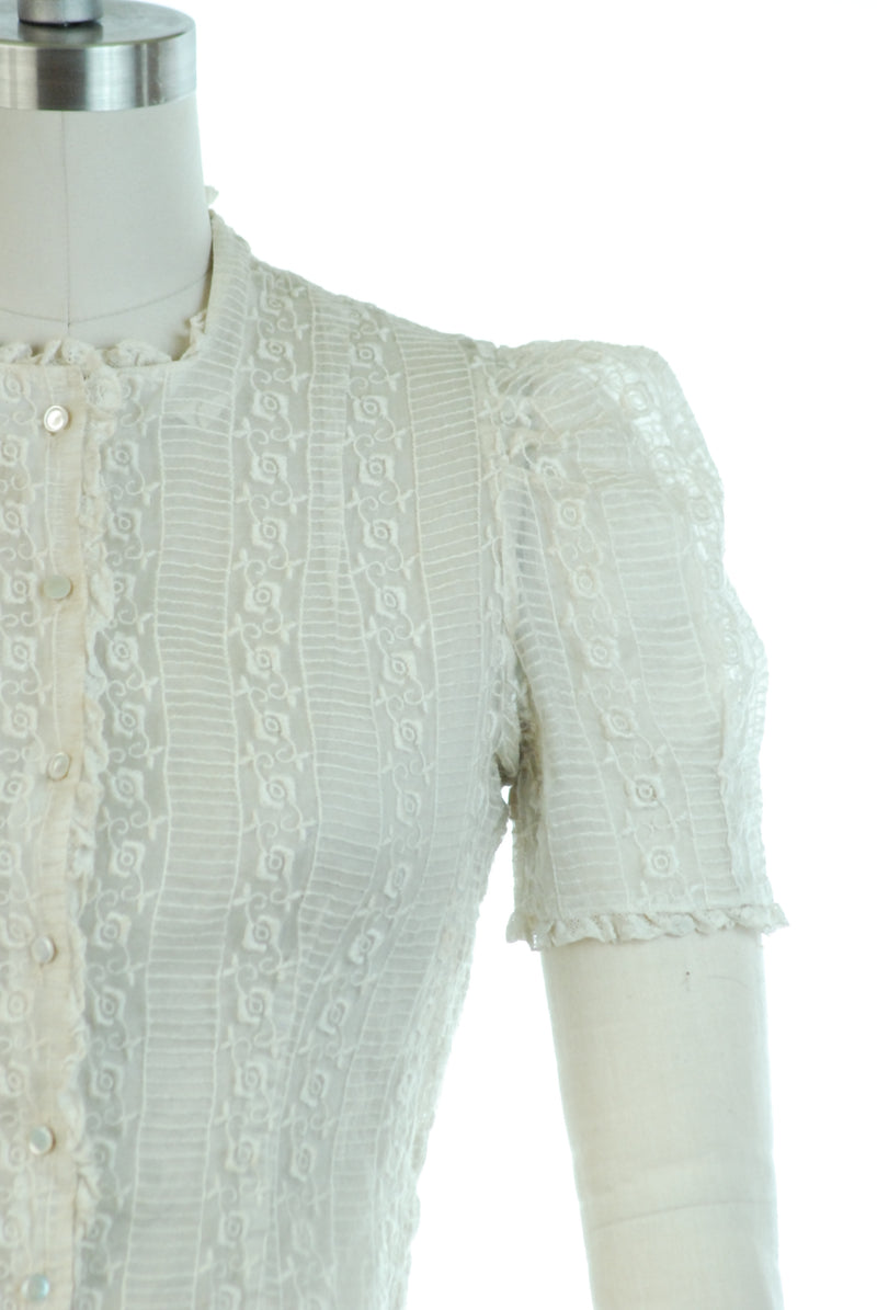 Gorgeous 1930s Sheer Embroidered Organza Puff Sleeve Blouse