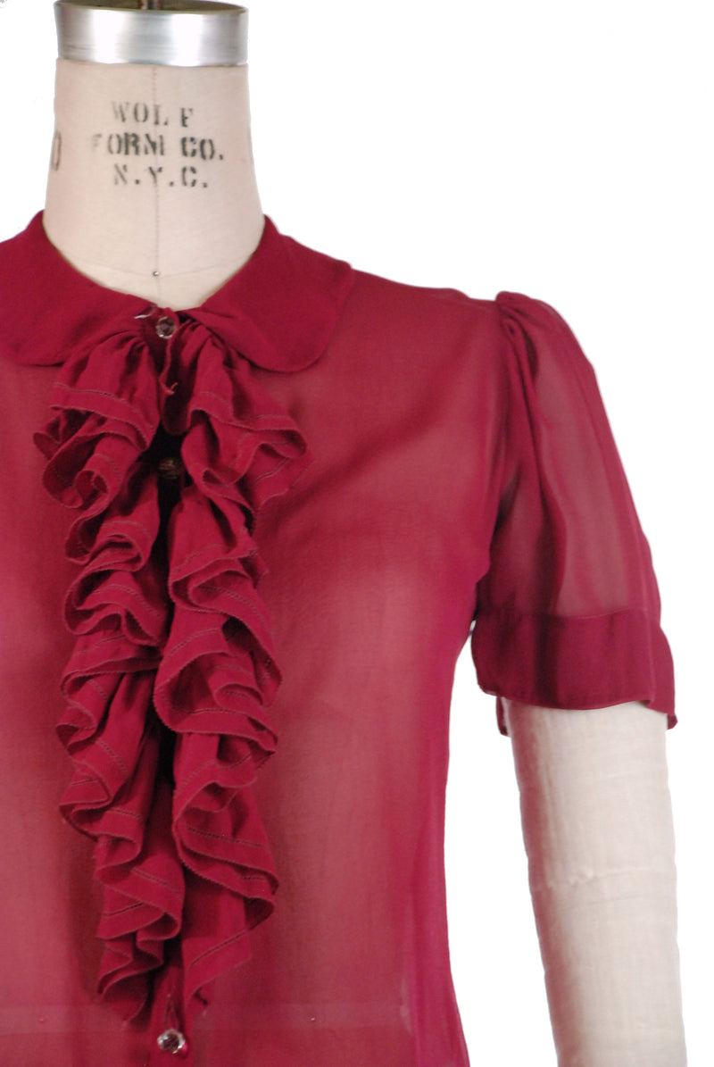 Sassy 1930s Sheer Silk Chiffon Jabot Ruffles Blouse with Glass Buttons