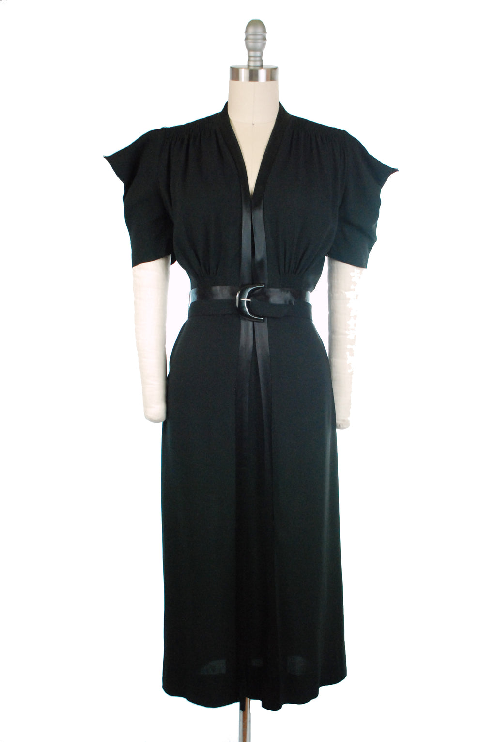 Wicked Late 1930s Gothy Black Day Dress with Pointed Sleeves and Satin Trim