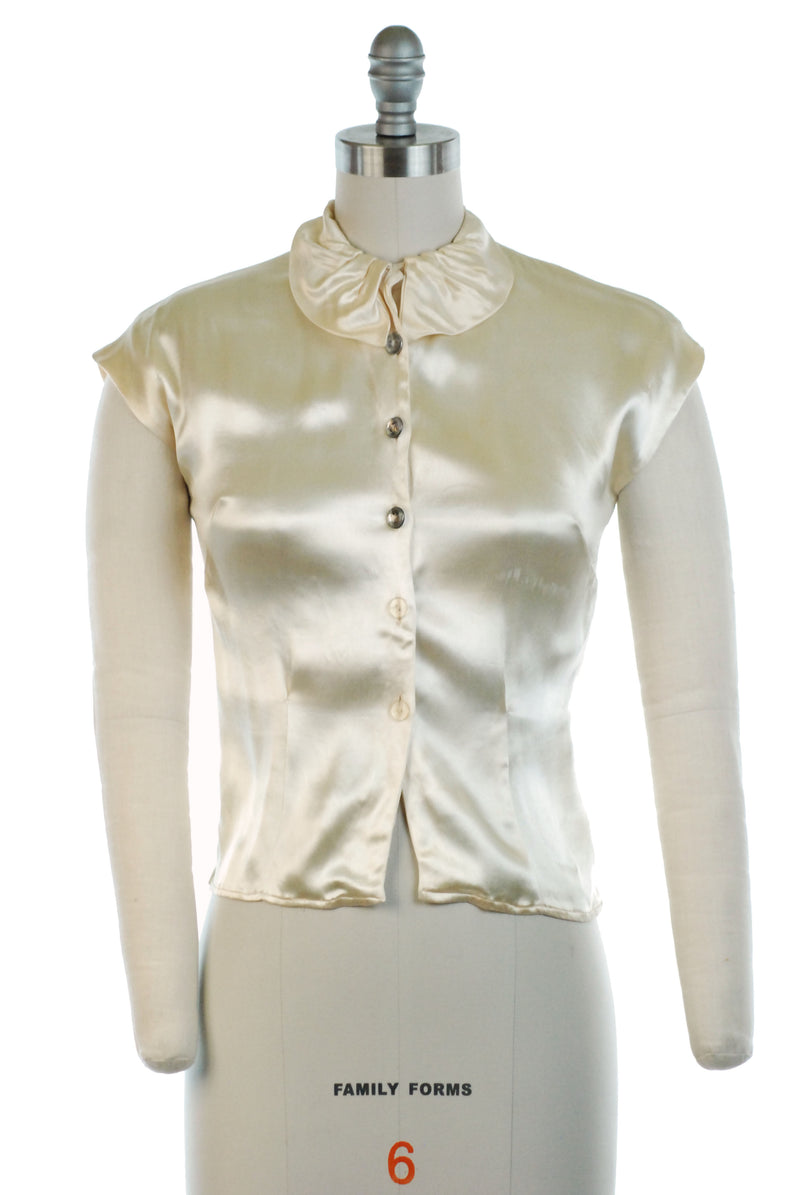 Sleeveless 1940s Blouse in Liquid Ivory Rayon Satin