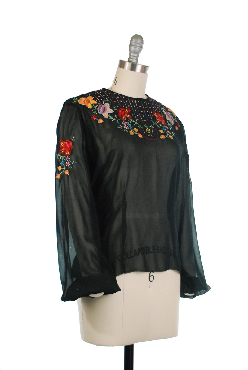 Sheer 1940s Tailored Black Blouse with Exquisite Hungarian Inspired Floral Embroidery and Full Sleeves