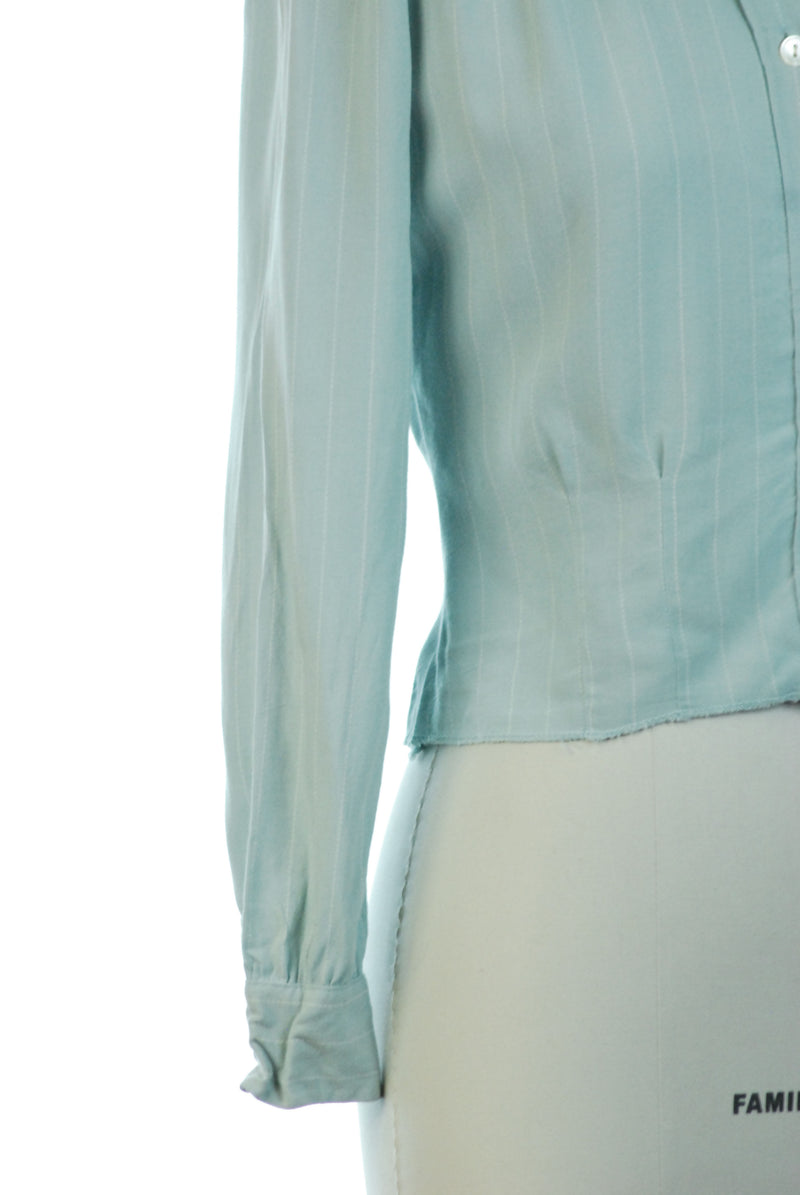 Rare 1940s Chambray Sportswear Blouse with Fine White Pinstripe