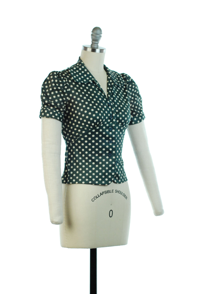 1970s Does 30s Puff Sleeve Green Polka Dot Blouse