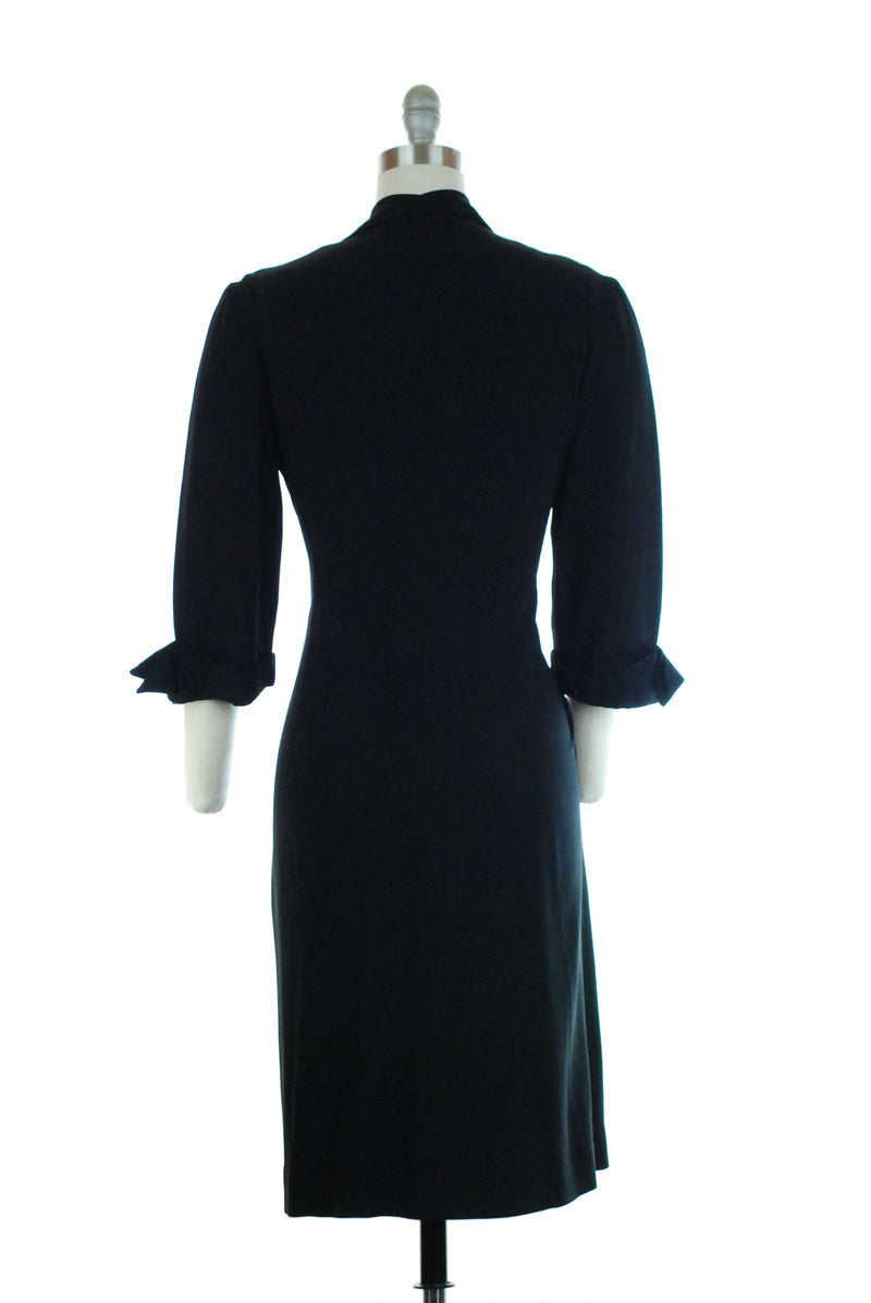 Smart Post War Late 40s Rayon Crepe Colorblock Dress in Black with Chartreuse