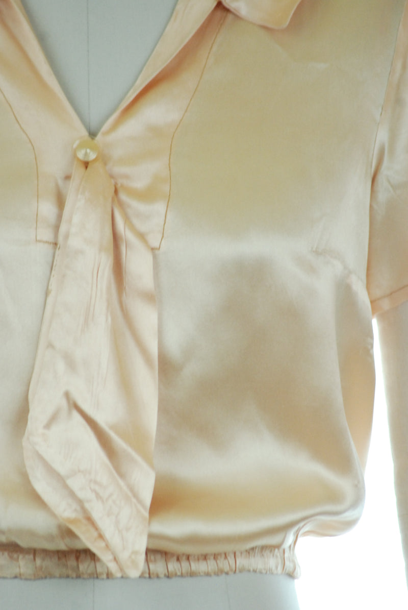 Fantastic Homemade 1930s Satin Pullover Blouse with Sailor Ties and Elastic Waist