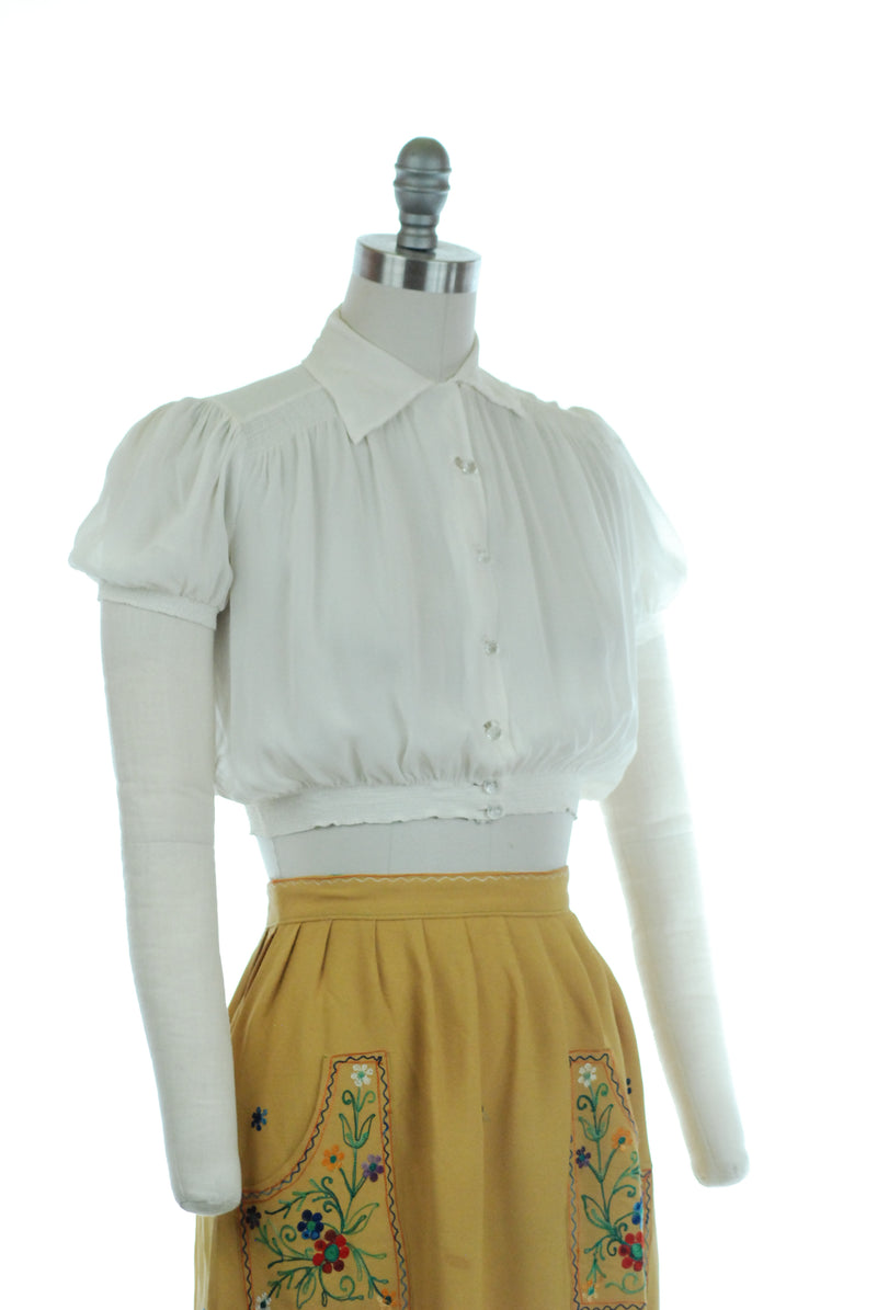 Rare 1930s Sheer Cropped Midriff Blouse with Elasticized Shirred Hem and Cuffs