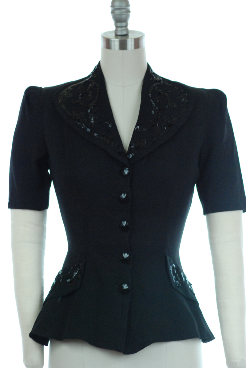 Elegant 1940s Sequined Blouse of Black Rayon Crepe with Sequins