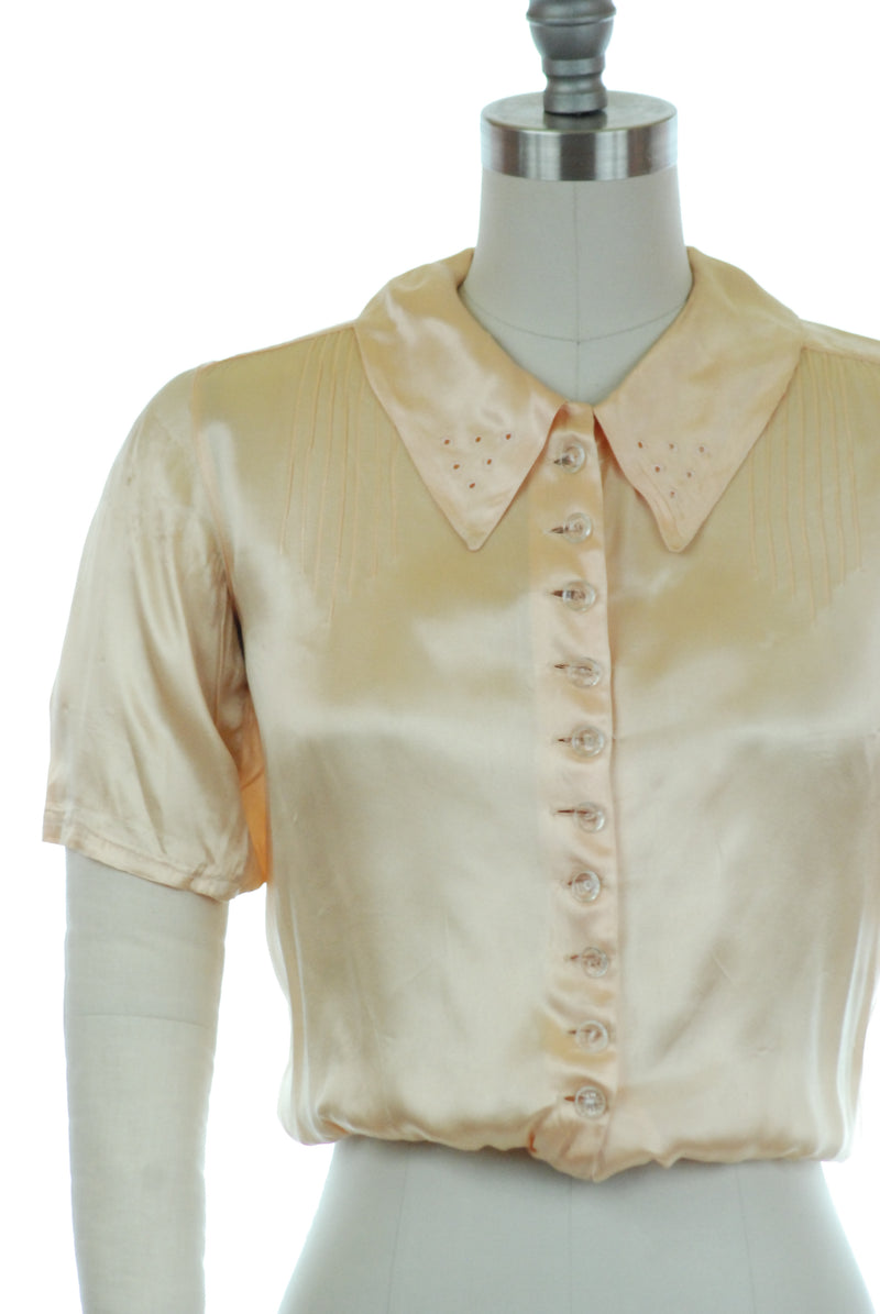 Lovely Homemade 1930s Satin Blouse with Pintucks, Eyelets and Glass Buttons
