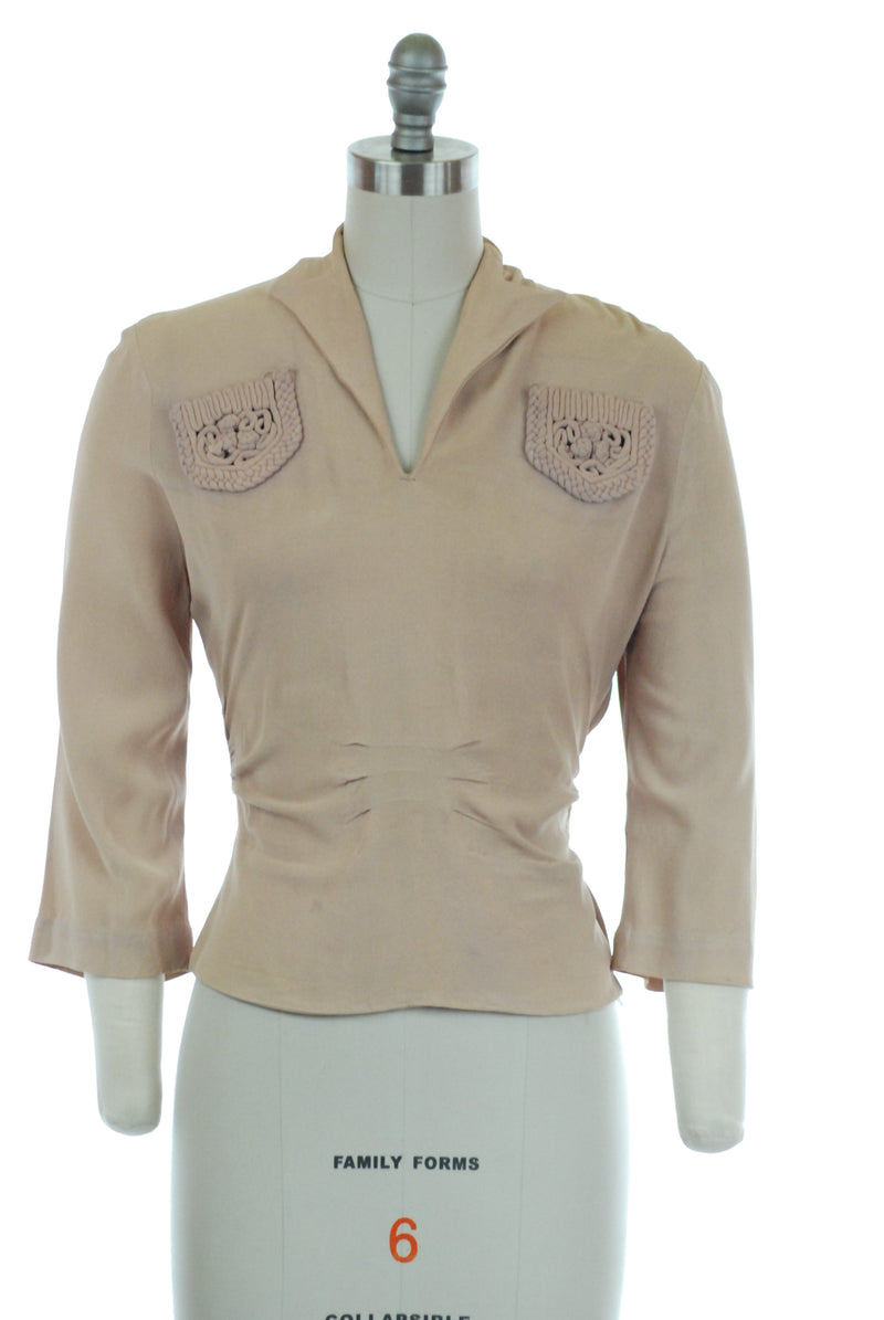 Classic 1940s Blouse with Soutache Chest Pockets in Warm Beige