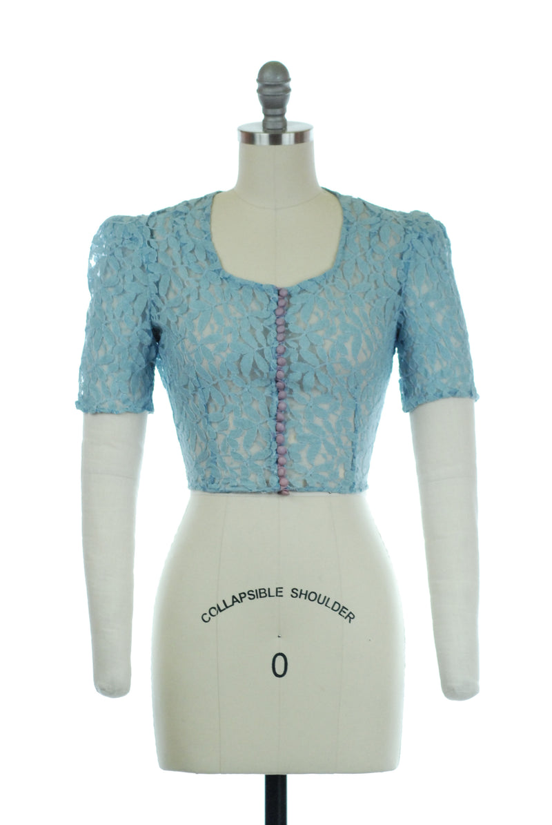 Sheer 1930s Blue Lace Blouse with Scoop Neckline and Cloth Buttons