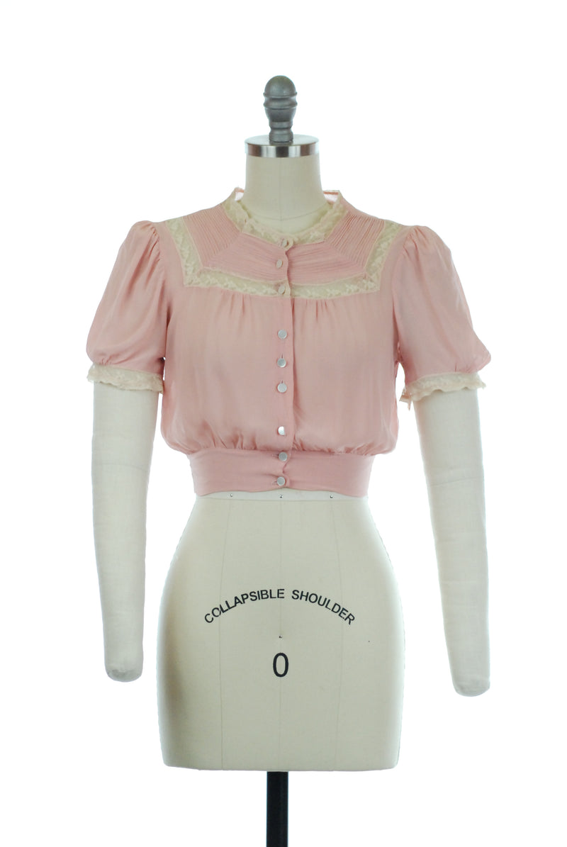 Darling 1930s Cropped Puff Sleeve Blouse in Pink Chiffon with Pintucks and Lace