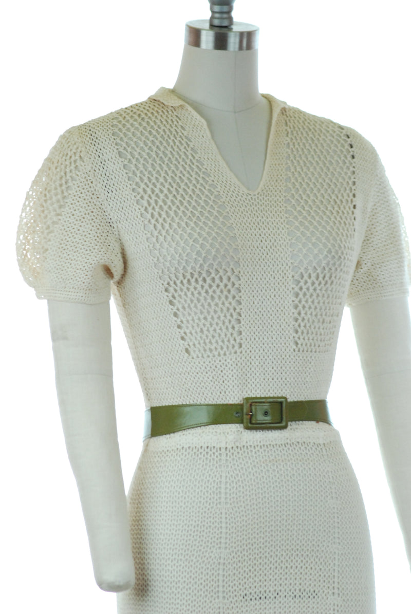 Timeless Late 30s Crocheted Ivory Summer Dress with Puffed Sleeves