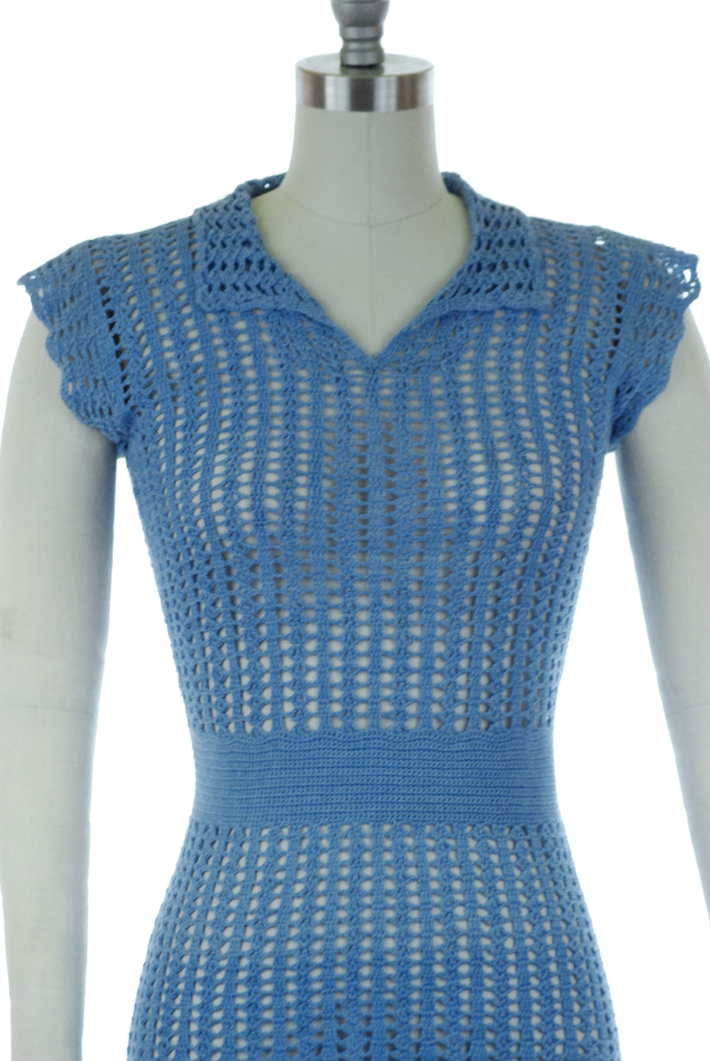 Beautiful 1940s Ocean Blue Crocheted Day Dress with Perfect Skirt